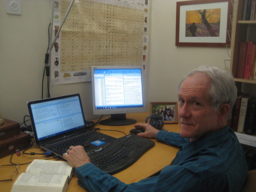 Jim working away at the Serbian and Portuguese translations of the Bible
